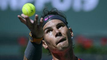 Rafael Nadal serves to Serbian Filip Krajinovic.