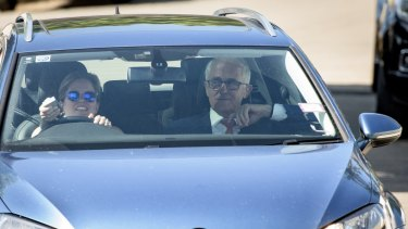 Former PM Malcolm Turnbull arrives at his Point Piper home on Monday after seven weeks away.