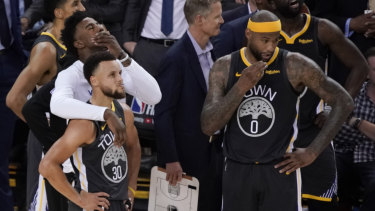 Golden State Warriors react to losing their NBA title defence.