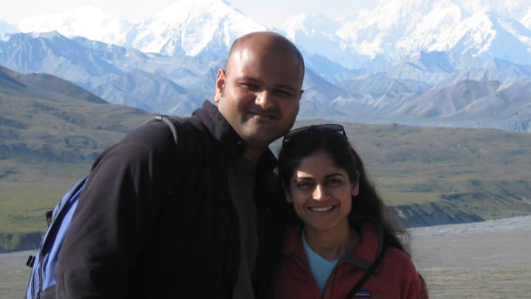 Rahul Desikan, before he fell ill,  and his wife Maya Vijayaraghavan.