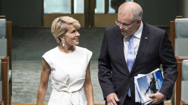 Julie Bishop and Scott Morrison during Question Time on Thursday.