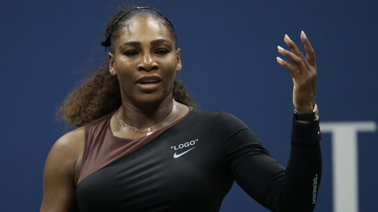 Serena Williams sports the Nike logo during her controversial US Open final.
