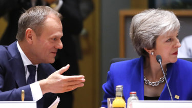European Council President Donald Tusk and British Prime Minister Theresa May meet in Brussels.