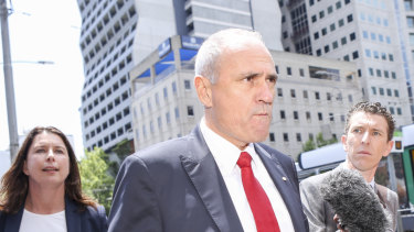 NAB chairman Ken Henry leaving the royal commission hearings in Melbourne late last year.