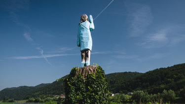 Ales Zupevc's sculpture of Melania Trump, set in the fields near the town of Sevnica, the US first lady's hometown.
