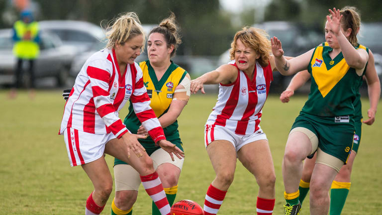 Annie Baldwin, third from left, playing for Mordialloc, May 7, 2017, at Endeavour Hills.