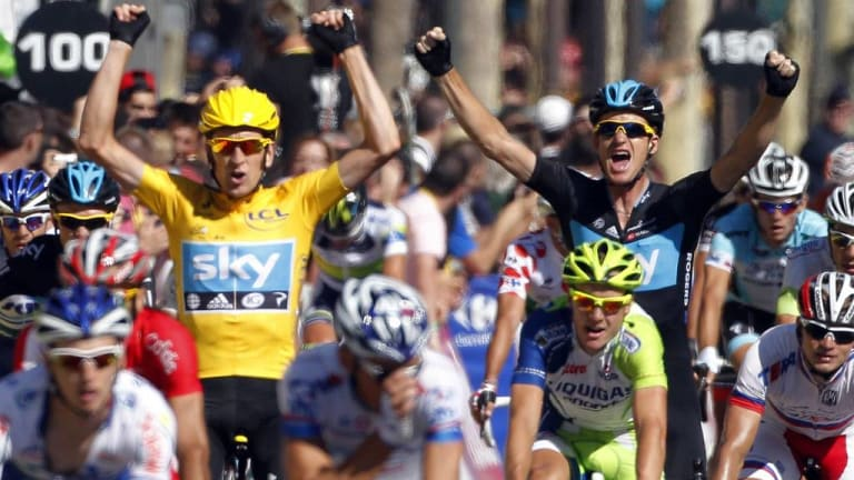 Hands up: An Anti-Doping UK report has implicated outspoken anti-doper Bradley Wiggins (left).