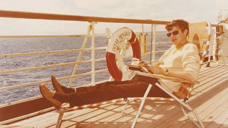 On the boat to Oxford in 1970.