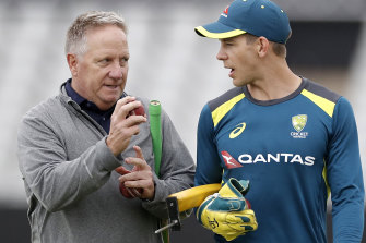 Former Australian wicket-keeper Ian Healy, left, with current Test captain Tim Paine during last year's Ashes series in England.