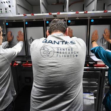 Passengers on board the Qantas flight.