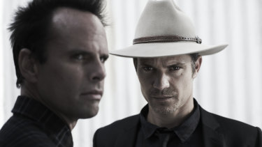 Walton Goggins (left) with Timothy Olyphant in Justified.