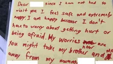 Another one of the handwritten letters by Julie's children.