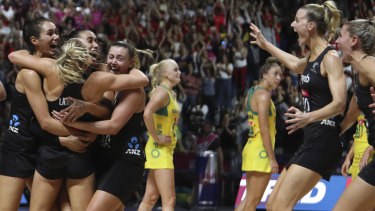 Agony and ecstasy: New Zealand players celebrate after winning the Netball World Cup final.