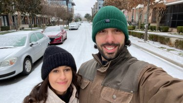 Australian expatsEmilia and Daniel Carrasco were excited to see snow for the first time before their power went down.