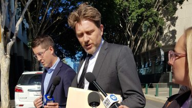 Lawyer Nick Dore outside court on Friday.