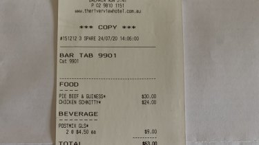 Receipt from the Riverview Hotel.