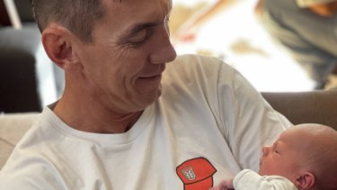 Mat Rogers with his grandson Ryda.