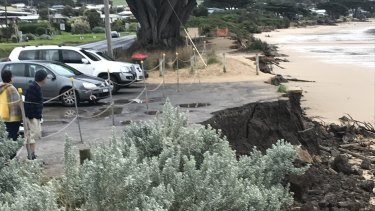 The erosion damage at Tuxion Road car park in Apollo Bay.