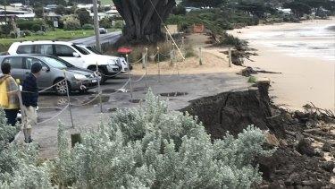 The erosion damage at Tuxion Road car park in Apollo Bay.