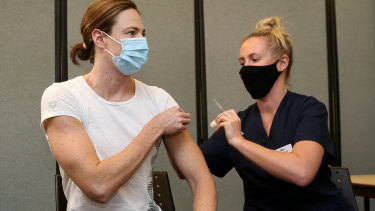 Cate Campbell receives her vaccination on Monday.