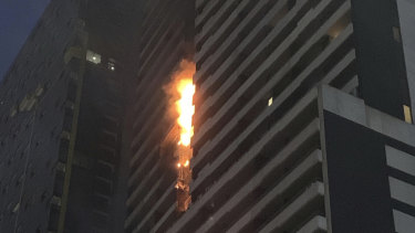 The Spencer Street apartment building that caught fire is fitted with combustible cladding.