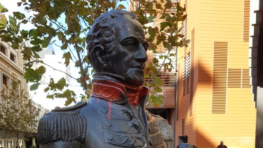 The statue following the vandalism in Perth on Friday.