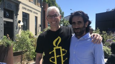 Dr Graham Thom, of Amnesty International Australia, with refugee Behrouz Boochani on Friday - his first full day of freedom - in Christchurch.