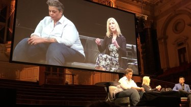 Roxane Gay and Christina Hoff Sommers speaking at Sydney Town Hall on Friday, March 29, 2019.