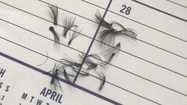 Fake lashes strewn on a school diary, which students at Mater Christi College in Belgrave were forced to remove.