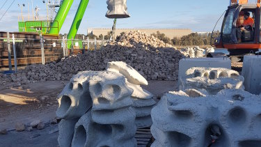Concrete segments used to construct the Windara oyster reef, which is now in place on the Yorke Peninsula, South Australia.