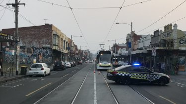 Sydney Road in Brunswick was closed between Albion and Hope streets on Tuesday night.