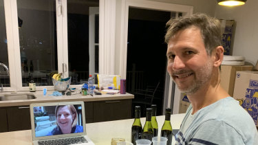 City Winery Brisbane winemaker Kris Cush (on the screen) steps Jon through the process of creating his own wine.