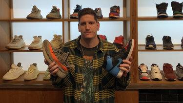 Cold Wave owner Adam Harvey's sneaker reseller store in Kings Street, Perth, is bucking the trend on retail, largely thanks to sales in Kayne West's Yeezy and Nike's Air Jordan sneaker lines.