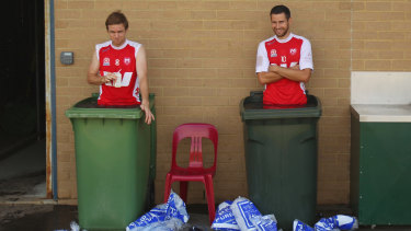 Frosty flashback: Wheelie bins are used at Melbourne Heart.