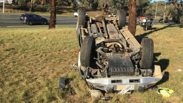 An injured man was taken to Canberra hospital after a collision on Canberra Avenue on Monday afternoon.