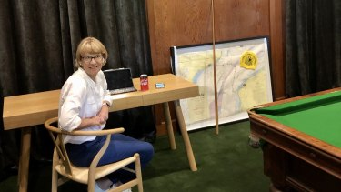 Coca-Cola Amatil boss Alison Watkins working from home, in the pool room of her farm in south-west Victoria.