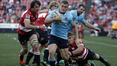 Test prop Tom Robertson scored a try at Ellis Park during the Waratahs' semifinal loss to the Lions at Ellis Park last year.