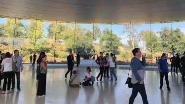Above the Steve Jobs Theater at Apple's campus