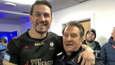 Sonny Bill Williams and Roosters boss Nick Politis reunite after the Wolfpack's loss to Warrington earlier this year.
