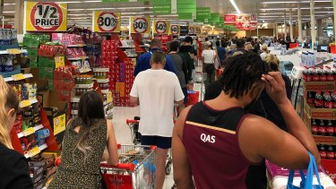 The queue at Coles in Fairfield on Friday morning, a case of minutes after the lockdown announcement.