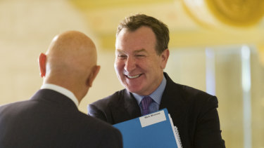 Solomon Lew and Mark McInnes at the Premier Investments Annual General Meeting in Melbourne on Friday.