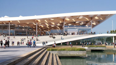 An artist's impression of the eastern entrance of the new Sydney Fish Market, to be built on Bridge Road.