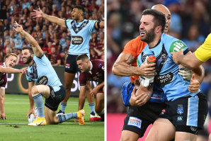Ecstasy to agony ... James Tedesco scores and then is taken from the field minutes later.