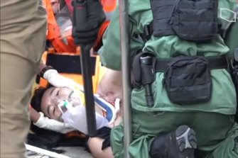 The Hong Kong protester was shot in the chest by police at Tsuen Wan.