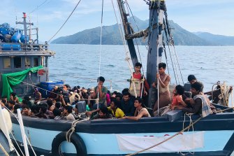 At least two dozen Rohingyan migrants died on the boat and many more boats are believed to remain adrift. Earlier this month Malaysian authorities released this picture of a boat carrying more than 200 Rohinyan asylum seekers that they intercepted.
