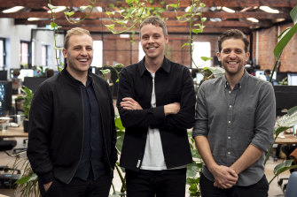 Linktree co-founders Alex Zaccaria, Nick Humphreys and Anthony Zaccaria.