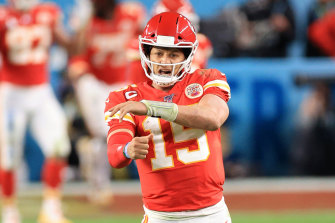 Patrick Mahomes celebrates a Chiefs touchdown en route to victory in the Super Bowl.