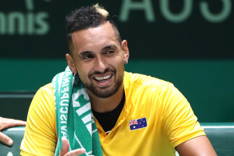 Nick Kyrgios at the Davis Cup in Madrid, Spain.