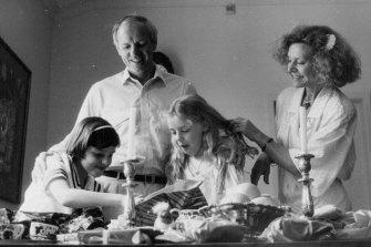 Carla Zampatti with husband John Spender and their children Bianca and Allegra. December 25, 1986.