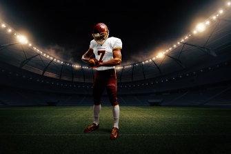 An artist's rendering of the new Washington uniform sans the retired Redskins logo.
